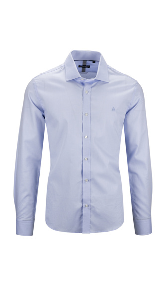 Picture of BLUE T-SHIRT WITH OXFORD WEAVING