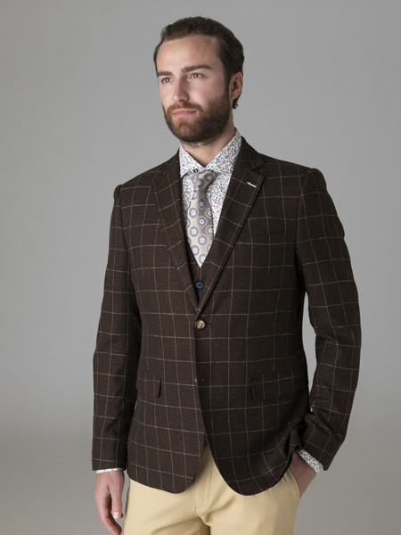Picture of Check cotton linen blazer two buttons
