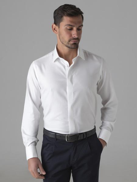 "Picture of Men's cotton white shirt, double cuff, hidden placket,""SMART EASY CARE"""