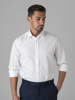 Picture of Men's cotton white shirt, semi cutaway collar in custom  fit.