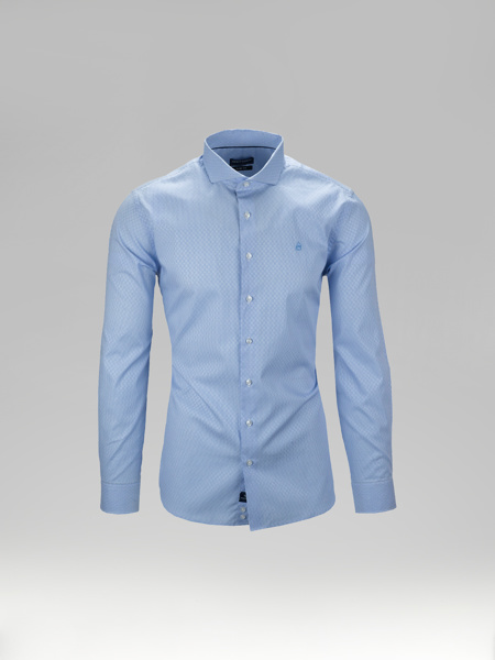 Picture of Check cotton shirt cutaway collar
