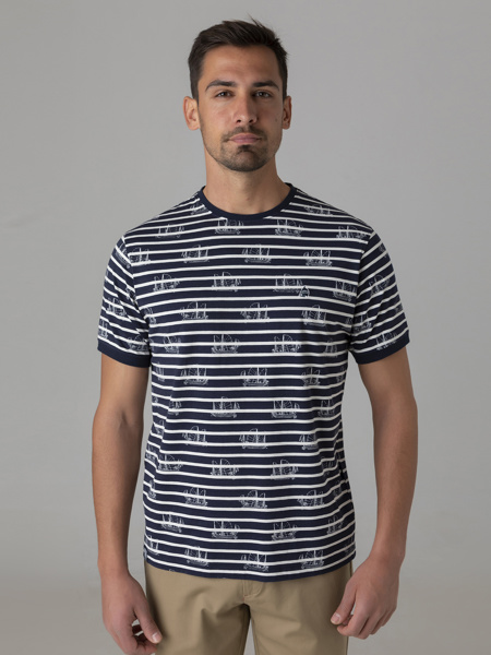 Picture of Men's combed striped t-shirt with round neck