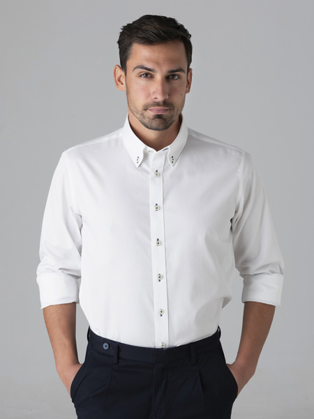 Picture of Men's cotton white shirt, custom fit, button down