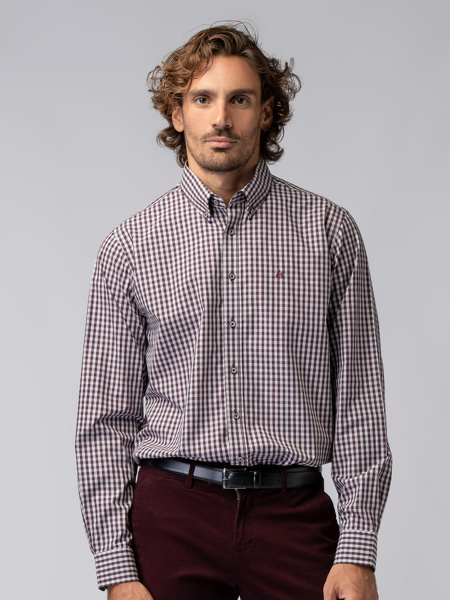 Picture of Men's plaid check shirt with button down collar