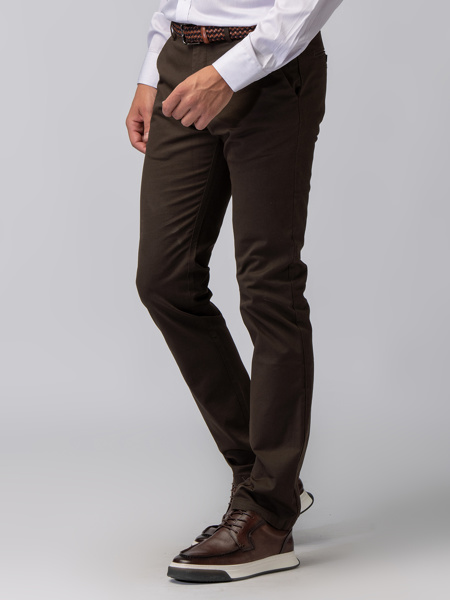 Picture of COFFEE CAPARDINE CHINO TROUSERS