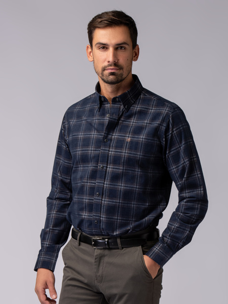 Picture of Men's paid check corduroy shirt