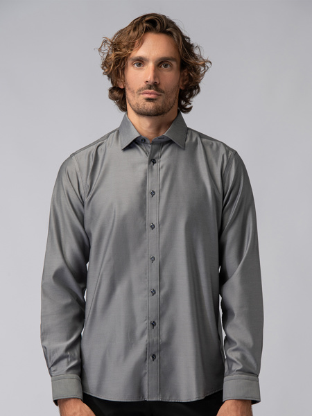 Picture of Men's high quality cotton shirt in anthrax grey