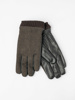 Picture of Men's woolen herringbone gloves with leather bottom