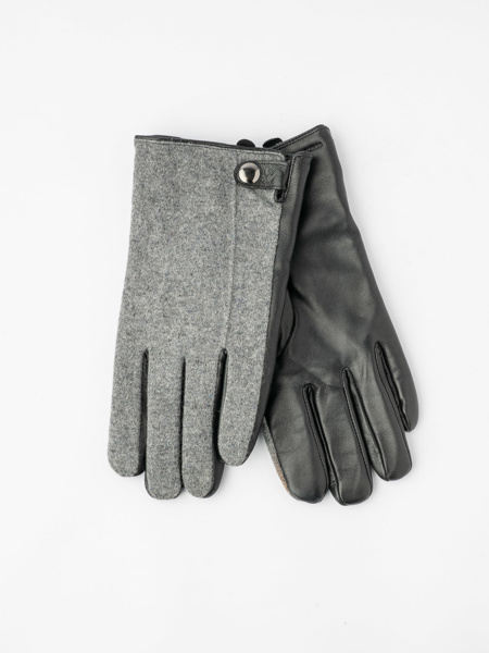 Picture of Men's woolen grey gloves with leather bottom