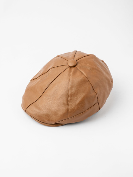 Picture of Men's newsboy ascot hat in pu leather