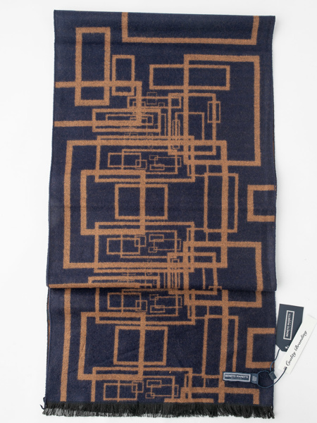 Picture of Men's soft scarf in geometric jacquard