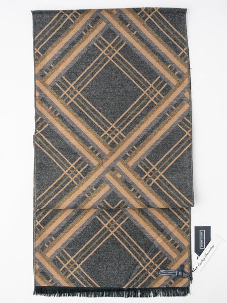 Picture of Ανδρικό μαλακό γκρι/μπέζ κασκόλ γεωμετρικό σχέδιο